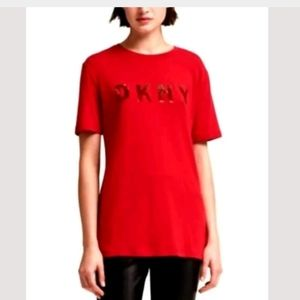DKNY T- Shirt Brand Sequin Print Logo Size Large S